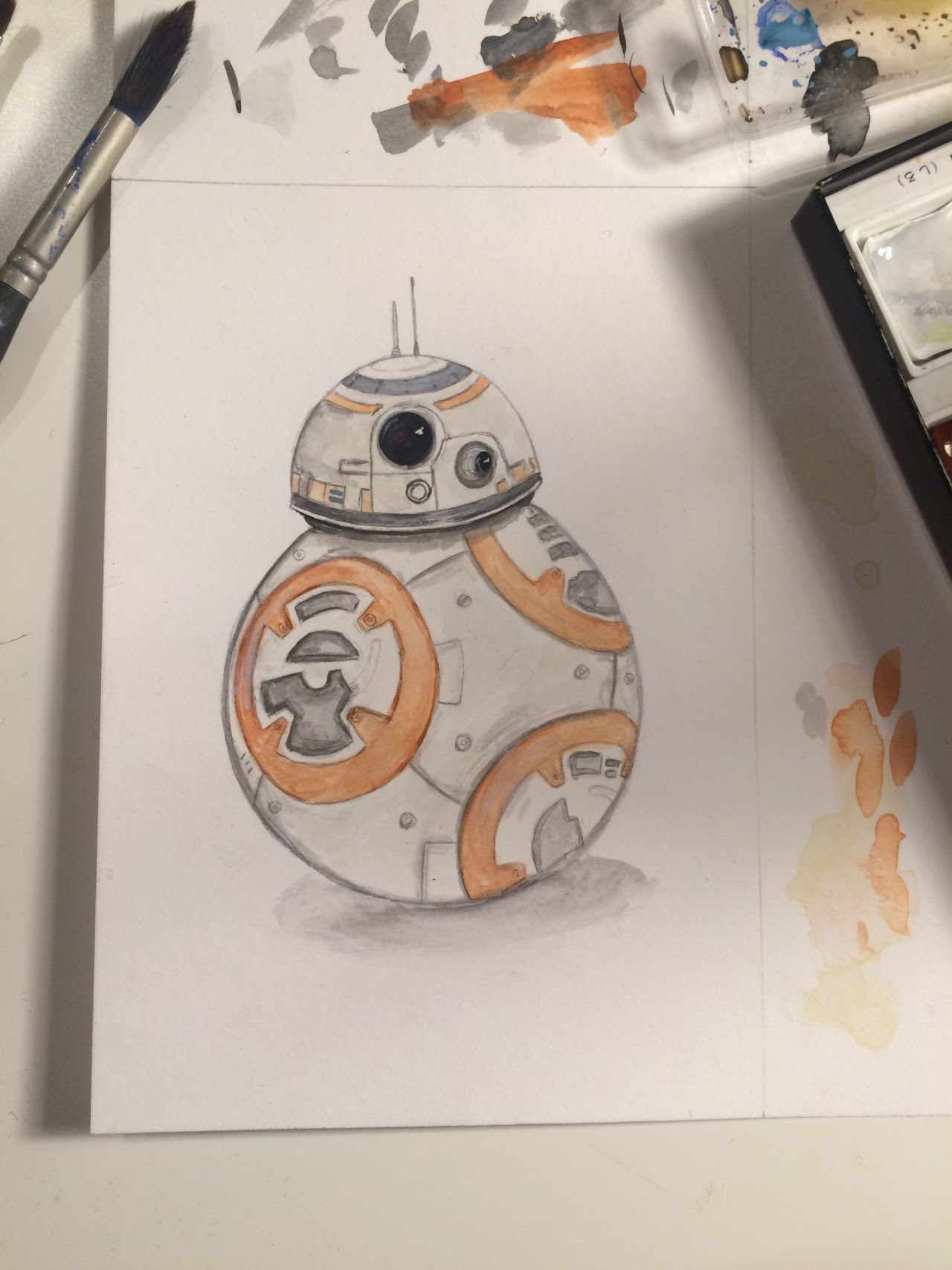 Watercolor painting of BB-8 from The Force Awakens