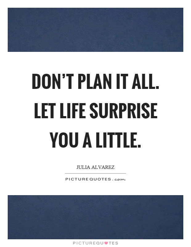 Dont Plan It All Let Life Surprise You A Little Picture Quotes