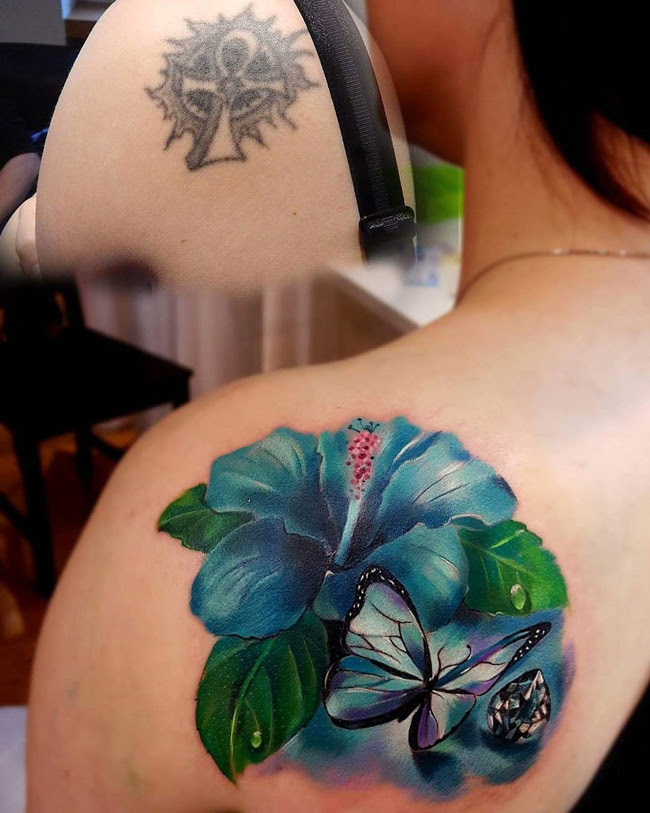 Hibiscus Butterfly Shoulder Blade Cover Up Best Tattoo Design Ideas