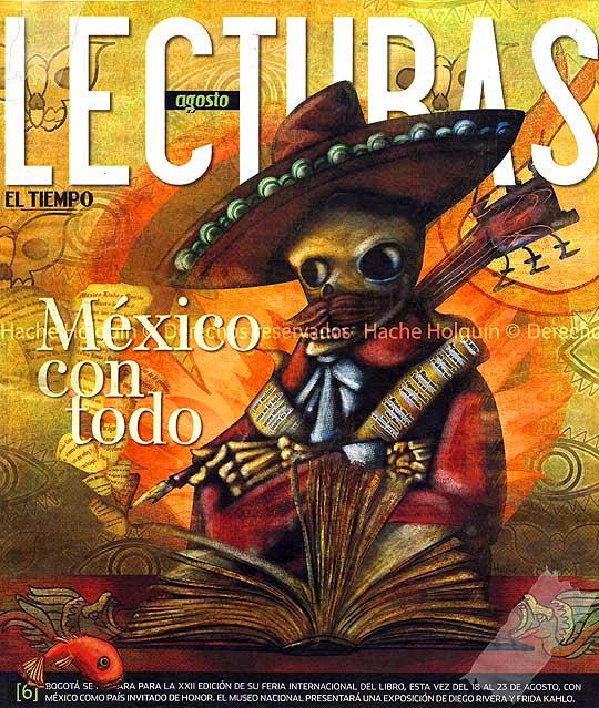Ilustración sobre literatura mejicana por Hache Holguín, portada para Lecturas de El Tiempo
