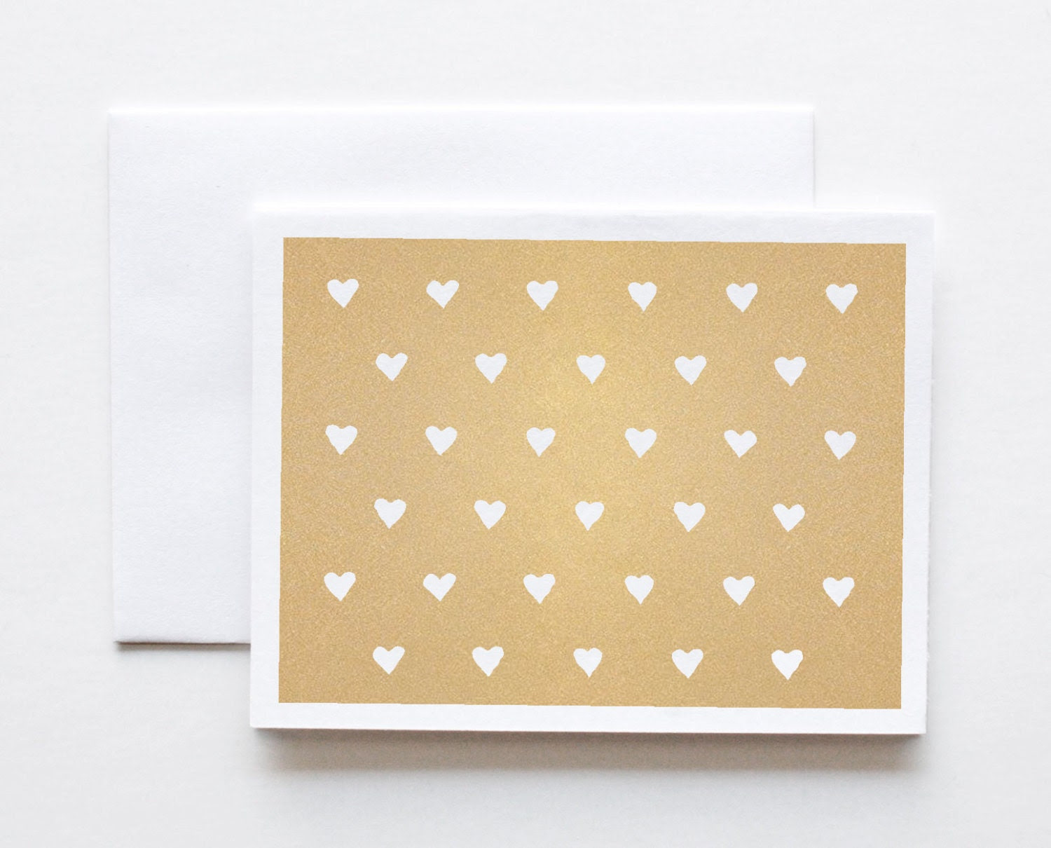 Note Card, Hearts, Stationery, Gold - ThePaperCub