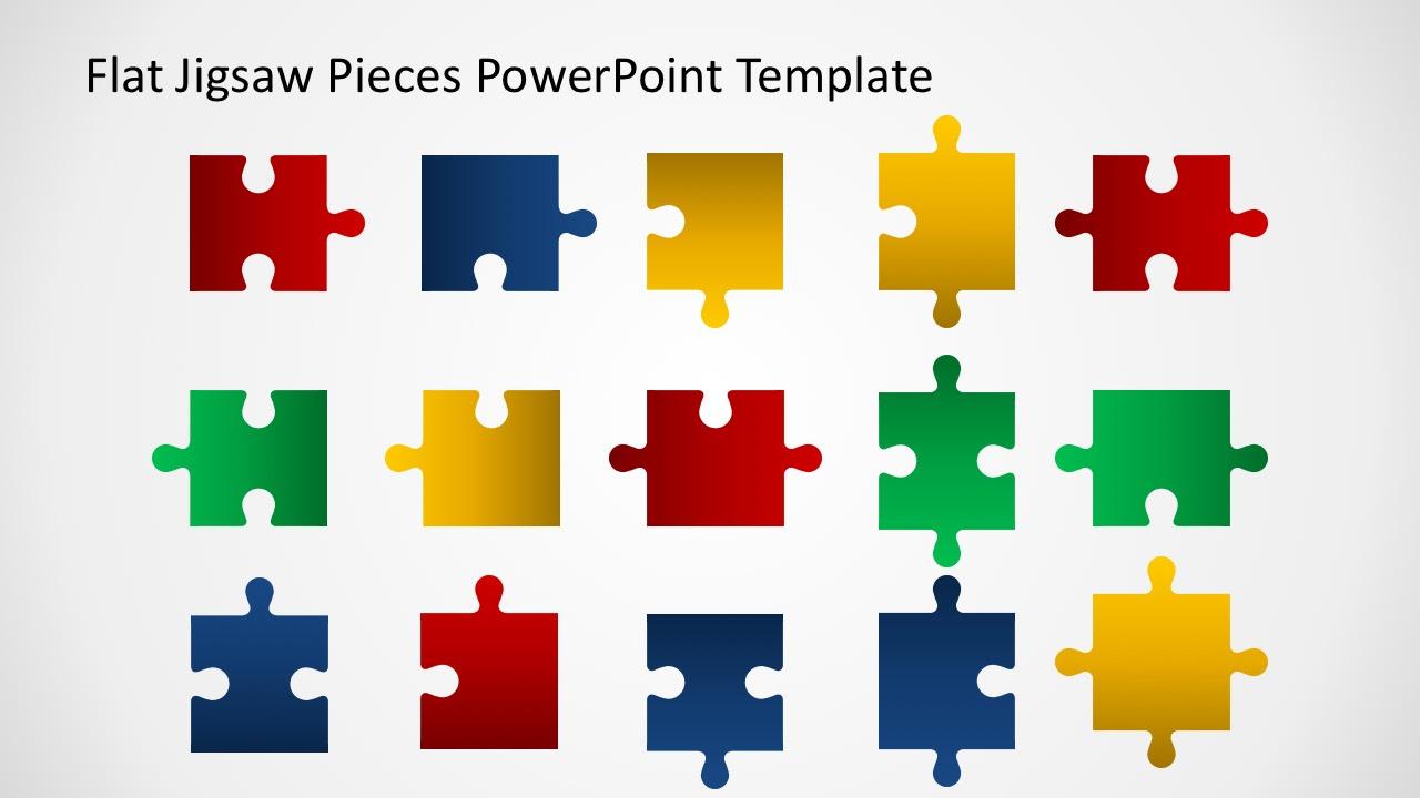 Editable Flat Jigsaw Pieces PowerPoint Template - SlideModel
