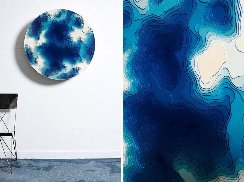 Abyss Wall Relief conçu par Christopher Duffy pour Duffy London, combine une combinaison de bois et de verre pour créer une pièce murale sculpturale qui jette un œil dans les profondeurs antiques de l'océan.  #WallArt #Art #Sculpture #ModernSculpture #ModernArt #Design