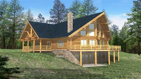 log cabin house plans  basement simple log cabin house