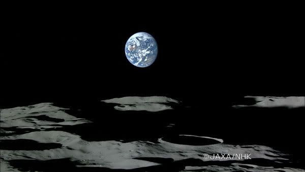 The Earth sets below the lunar horizon in this video screenshot from the Kaguya spacecraft.
