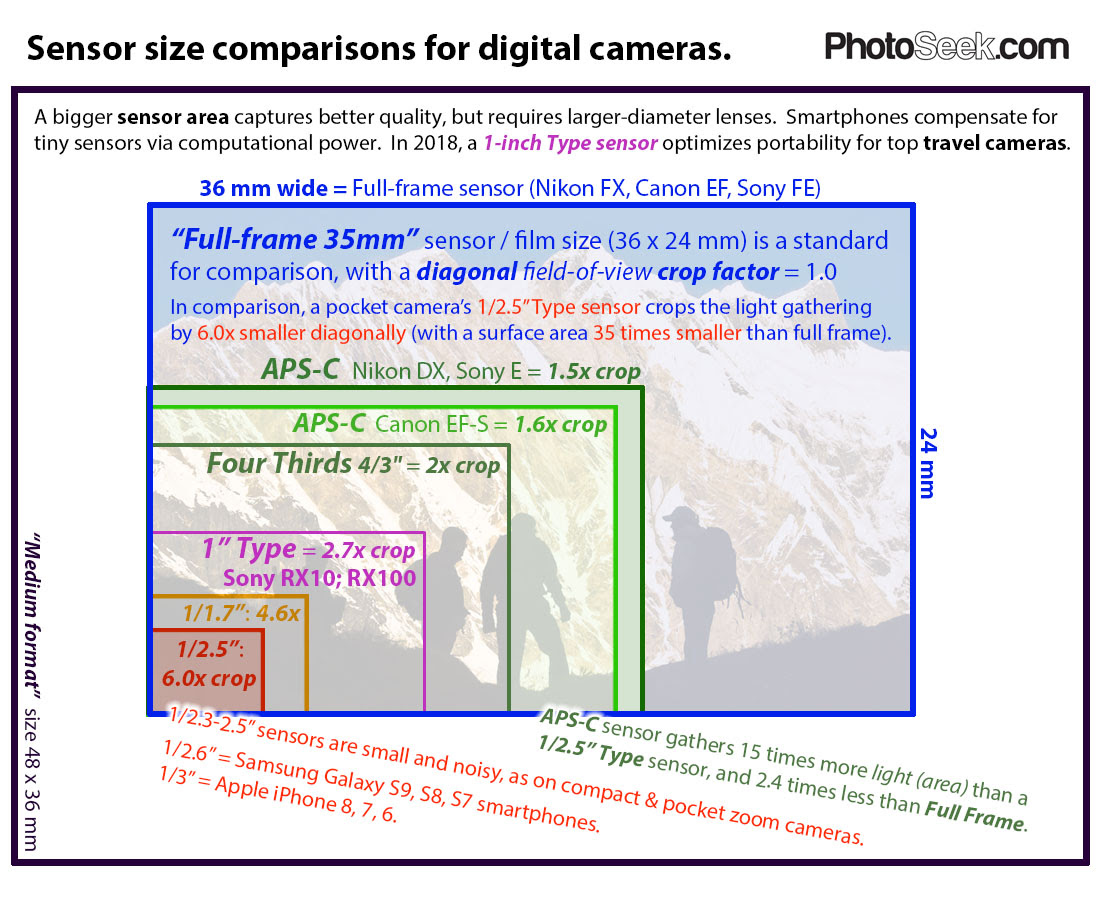 Compare Camera Sensor Sizes Full Frame 35mm Aps C 43 1 117
