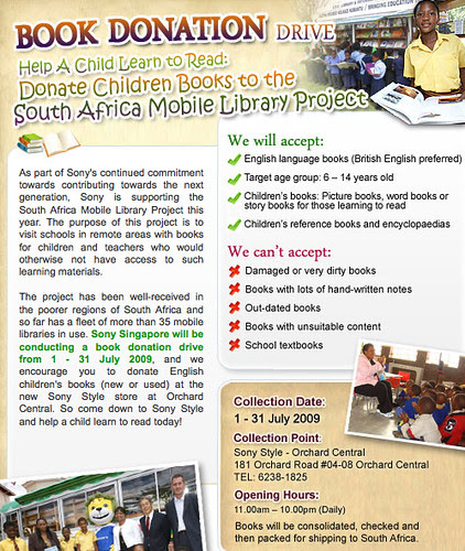 Help A Child Learn to Read: Donate Children's Books to the South Africa Mobile Library Project : Events : Sony Singapore