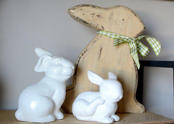 easter bunnies, white bunnies, wood bunny
