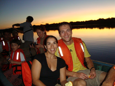 Lago Limoncocha sunset wildlife cruise