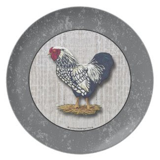 Silver Laced Wyandotte Roosters Barnboards Party Plate