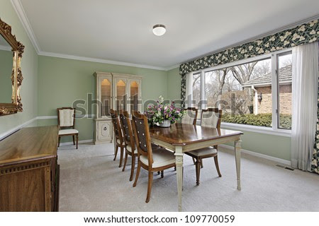 Dining Room In Traditional Home With Lime Green Walls Stock Photo ...