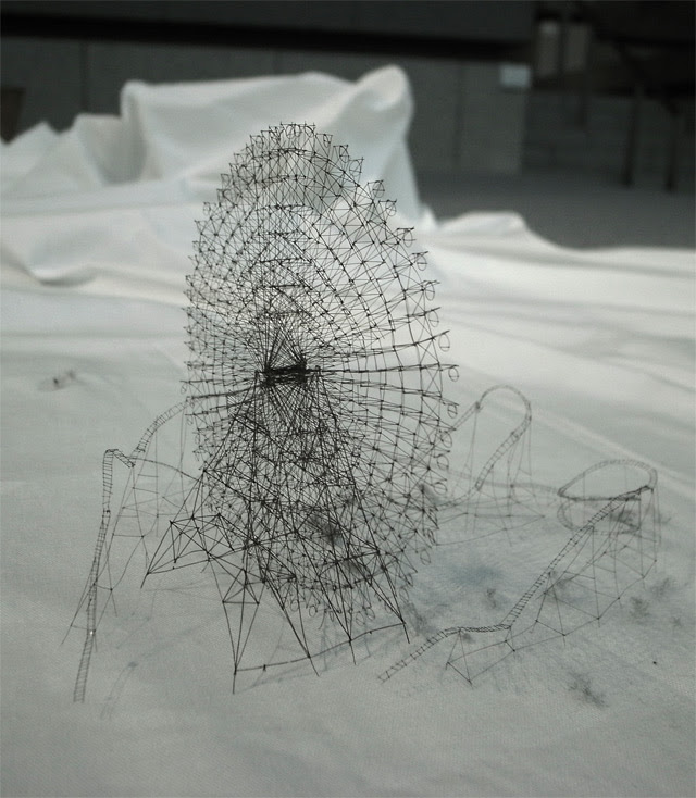 Out of Disorder: Topographical Maps Carved from Electrical Tape and Intricate Thread Sculptures by Takahiro Iwasaki thread textiles sculpture