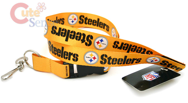 NFL Pittsburgh Steele Lanyard Key Chain ID Ticket Holder  Yellow Logo  eBay