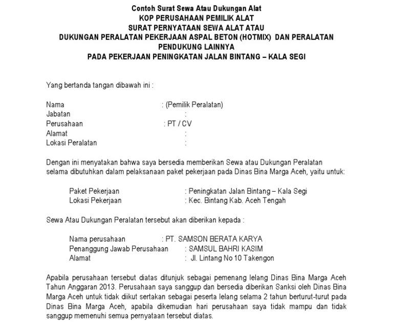Contoh Surat Dukungan Perusahaan Untuk Tender Kumpulan Surat Penting
