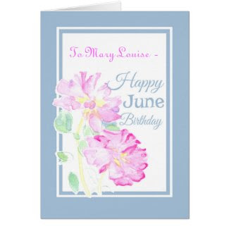 Pink Roses June Birthday Card to Personalize