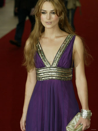 Keira Knightley Wearing Purple and Gold Dress at Pride and Prejudice Film