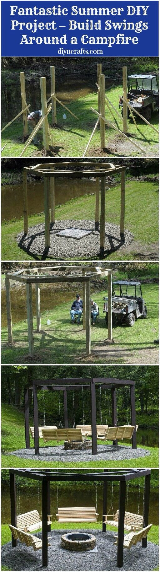 Swings around a fire pit.
