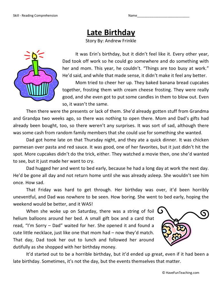Reading Prehension Worksheet Late Birthday