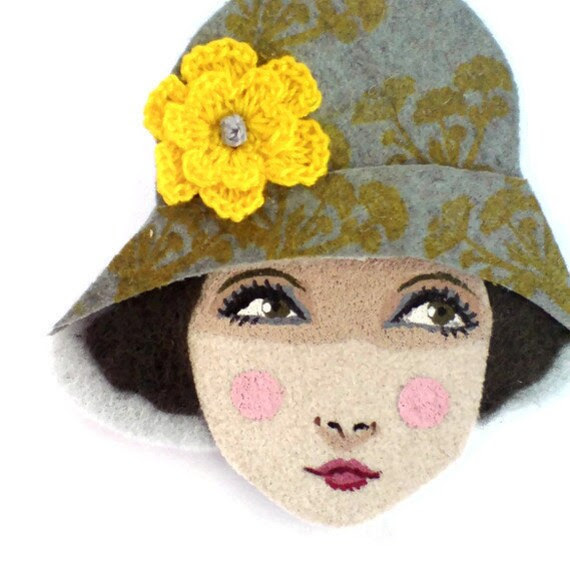Fabric brooch - Joy, Flapper girl in a floral cloche, Autumn, grey, cypress, yellow, wearable art