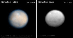 Comparison of HST and Dawn FC images of Ceres taken nearly 11 years apart. Credit: NASA.