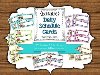 Editable} Daily Schedule Cards - Chevron by Teacher at Heart ...