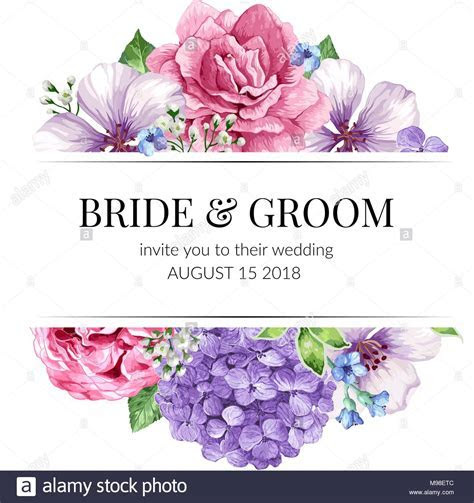 Wedding Invitation card design with flowers in watercolor