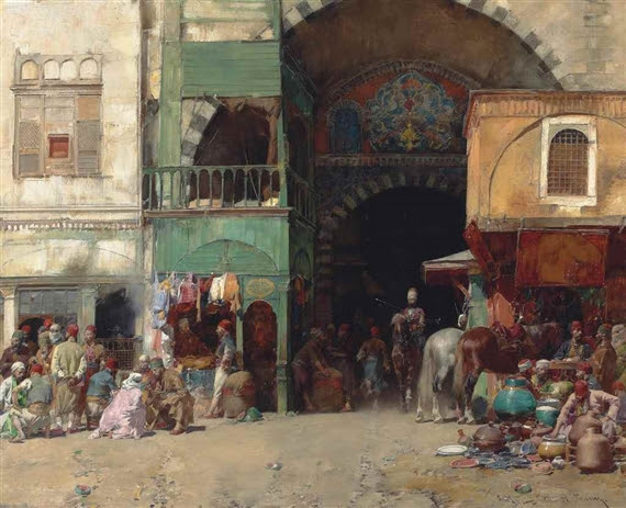 Alberto Pasini, Marketplace at the Entrance to a Bazaar, Constantinople