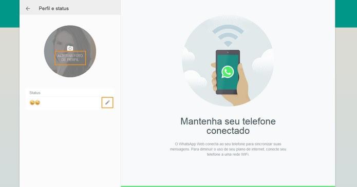 Edite o perfil no WhatsApp Web (Foto: Reprodução/Barbara Mannara)