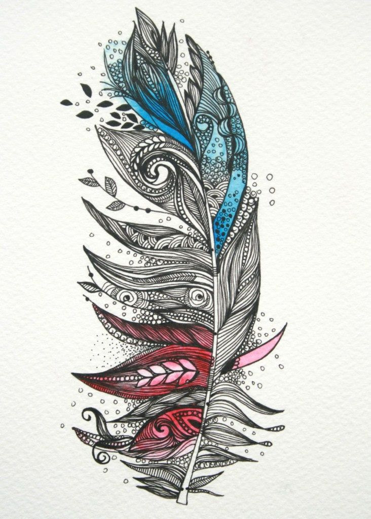 Garden Feather-Original Artwork 5x7 Ink and Water Colours. $40.00, via Etsy.