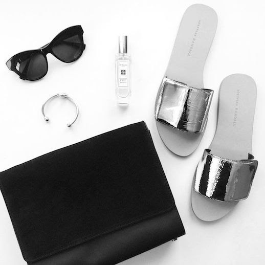 Le Fashion Blog Instagram Bevel Cat Eye Sunglasses Jo Malone Perfume Loeffler Randal Sibi Metallic Slide Sandals Everlane Petra Bag