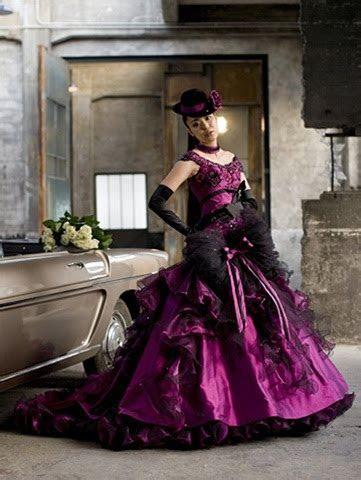 Deep Purple Gothic Wedding Dresses   Handmade Victorian