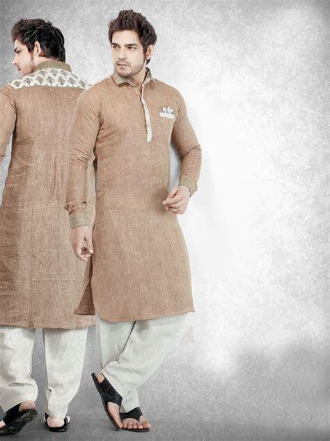 Cotton Brown Solid Festive Men Pathani Suit   Kurta