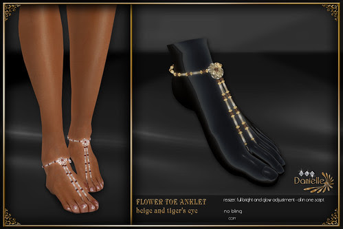 DANIELLE Flower Toe Anklet Beige And Tigers Eye