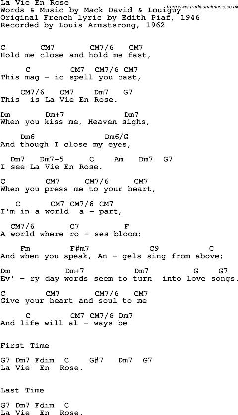 Lyrics La Vie En Rose Louis Armstrong