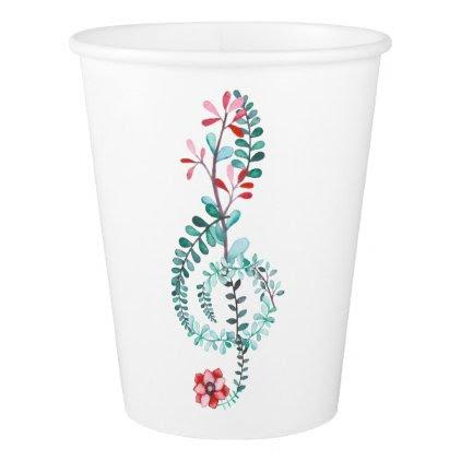 Botanical Treble Clef Paper Cup