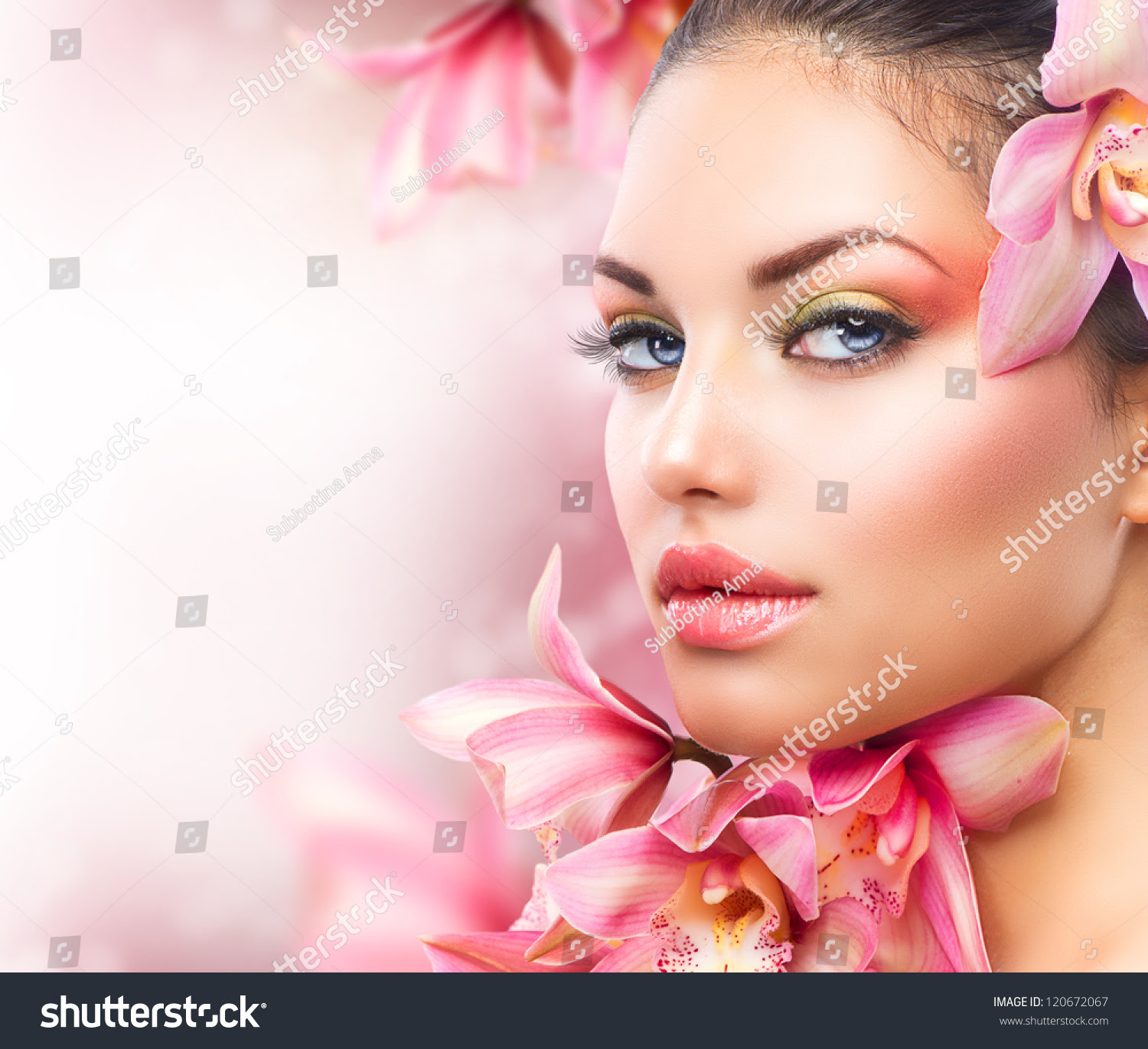 Beautiful Girl Orchid Flowersbeauty Model Woman Stock ...