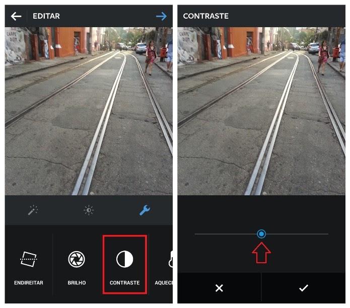 Novo recurso de controle de contraste no Instagram (Foto: Reprodução/Lívia Dâmaso)