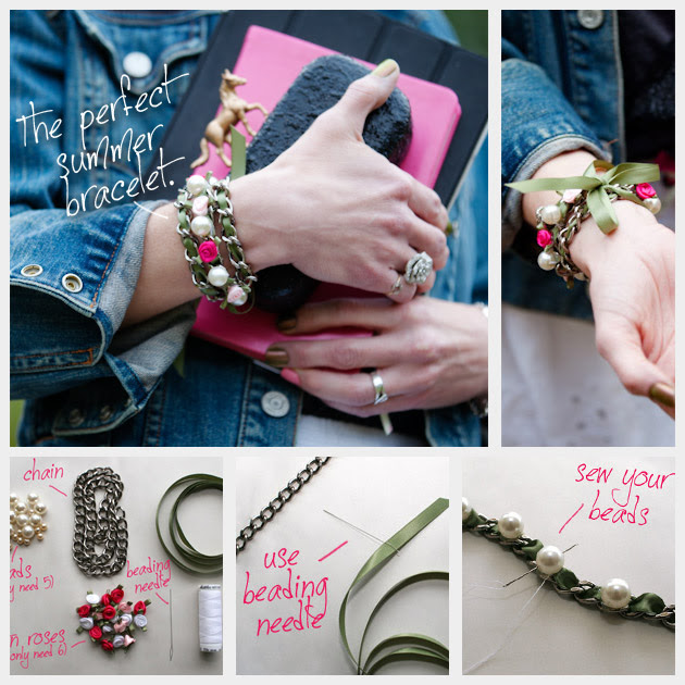 DIY Ribbon Chain Bracelet