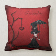 Steampunk Goth Girl Heart Tree & Red Damask throwpillow
