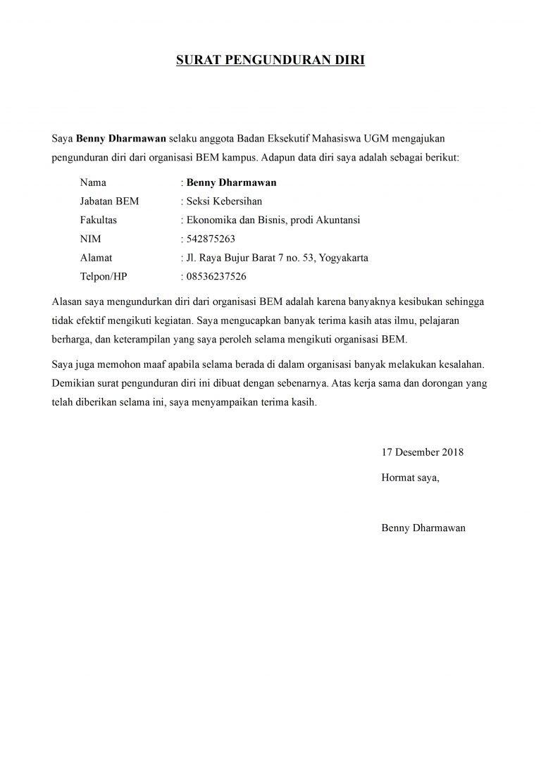Contoh Surat Pengunduran Diri Organisasi Kampus Yang Baik ...