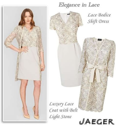 Jaeger Occasion Wear Lace Top Shift Dress and Matching