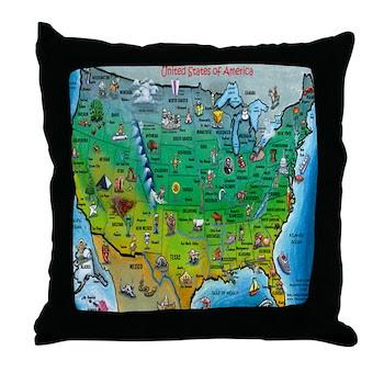 Usa Cartoon Map Throw Pillow Gt Usa Cartoon Map Usa Cartoon Map