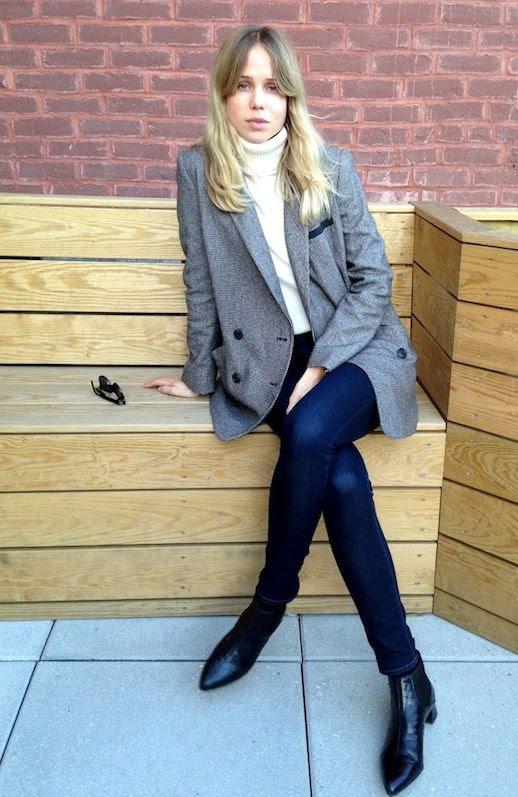 Le Fashion Blog Elin Kling Grey Blazer Cream Turtleneck Sweater Skinny Jeans Croc Leather Ankle Boots Via The Wall