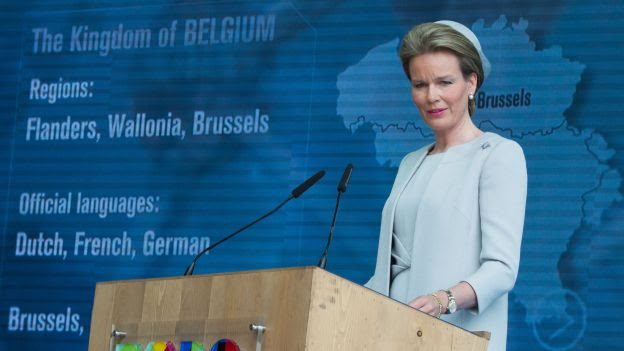 20150612 - MILAN, ITALY: Queen Mathilde of Belgium delivers a speech prior to a visit to the Universal Exhibition 2015 (Expo Milano 2015 or World Exposition 2015) in Milan, Italy, Friday 12 June 2015. BELGA PHOTO BENOIT DOPPAGNE