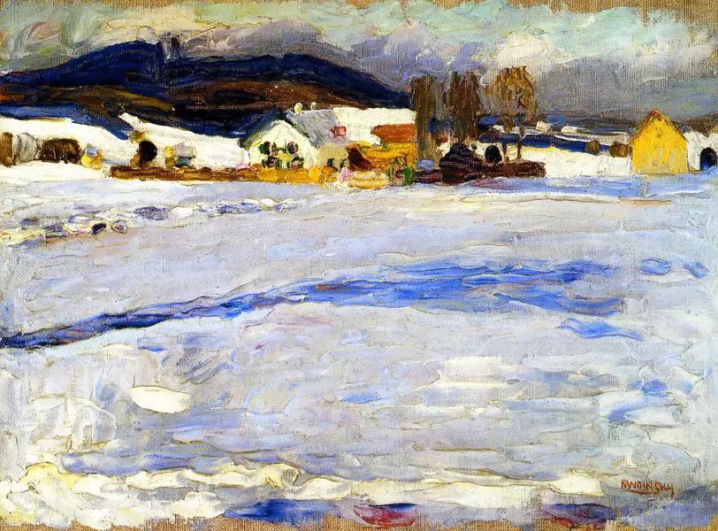 Painter Wassily Kandinsky. Painting. Bei Starnberg - Winter. 1902 year