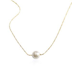 Colier placat cu aur decorat cu perla alba