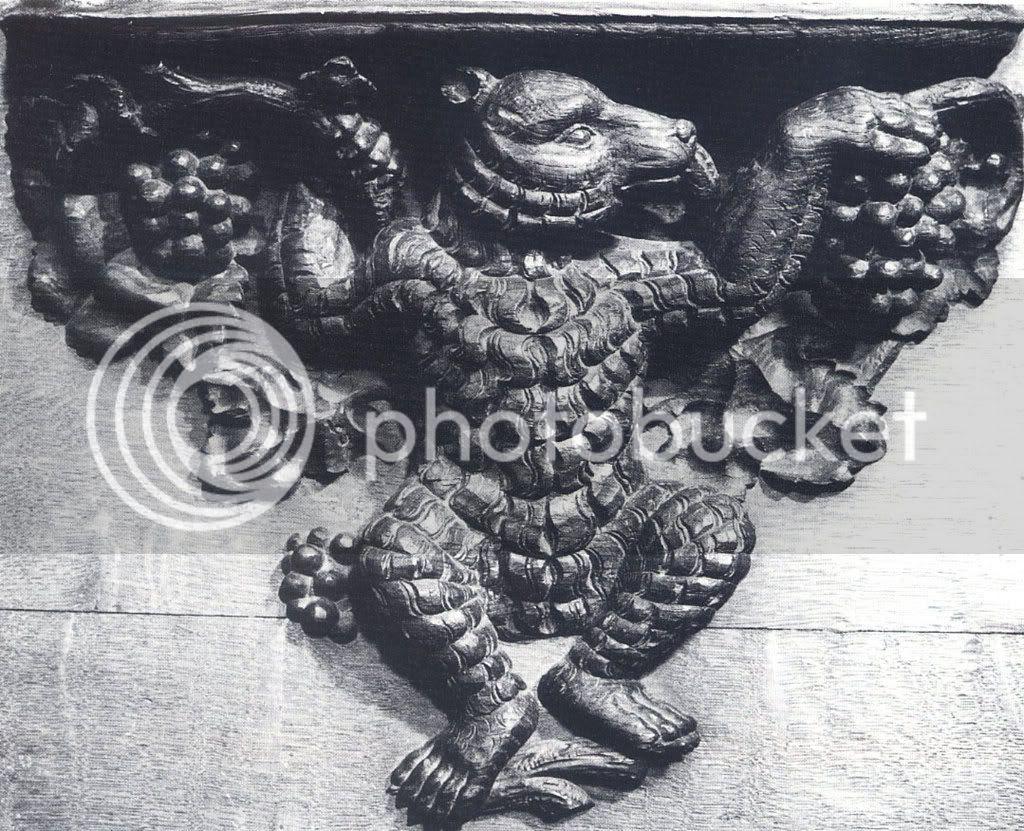 cadeiral da catedral de Colónia, séc. XIV, urso/diabo/mascarada de carnaval?