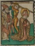 Máté apostol (Illusztráció a Pannonhalmán őrzött Legenda Aurea Sanctorum című ősnyomtatvány 1482-es augsburgi kiadásának 728. oldaláról)