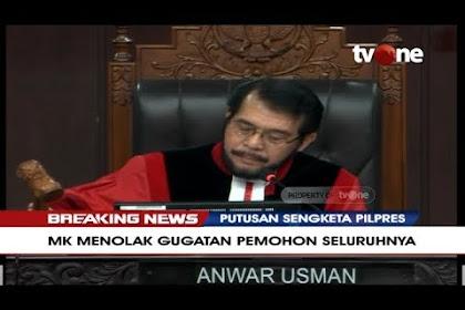 Hakim MK menolak tuntutan Pemohon BPN Prabowo-Sandi