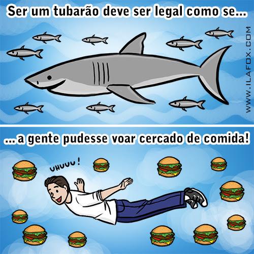 ser tubarão deve ser legal, voar cercado de comida, tubarão, voar, água, hamburguer, peixe, ila fox